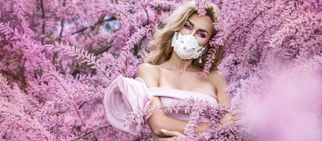 bride in mask pink florals
